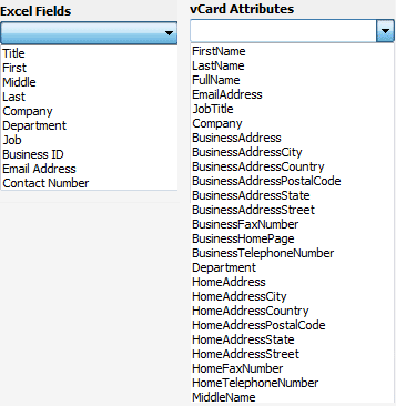 map attributes of excel file