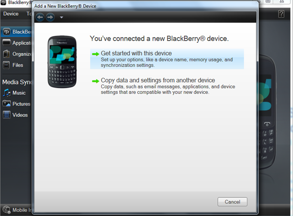 connect blackberry device to the computer