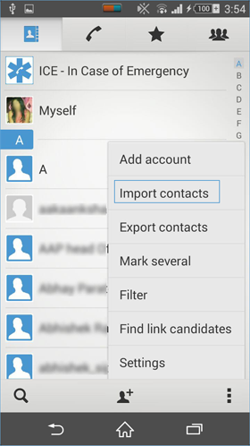 select option to import excel file into android phone