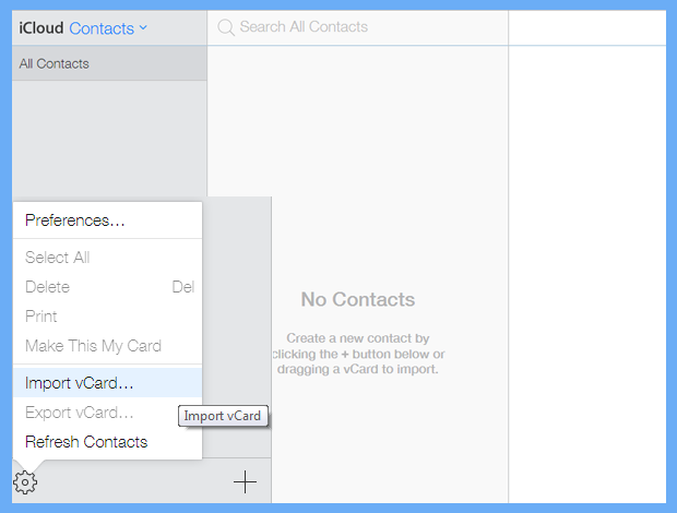 select import vCard file option