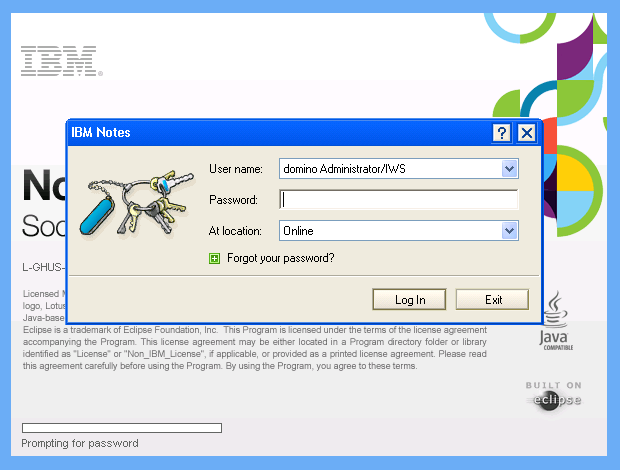 launch Lotus notes application