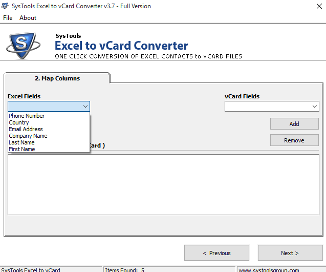 map vCard to windows contacts